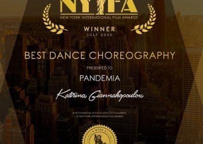 Award, Certificate, Katerina Giannakopoulou, NYIFA, Winner, Best Dance Choreography