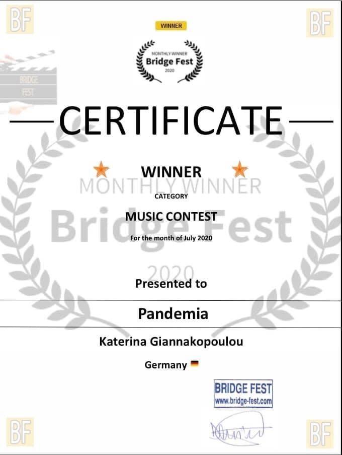 Certificate, Canada, Filmfestival, Musiccontest