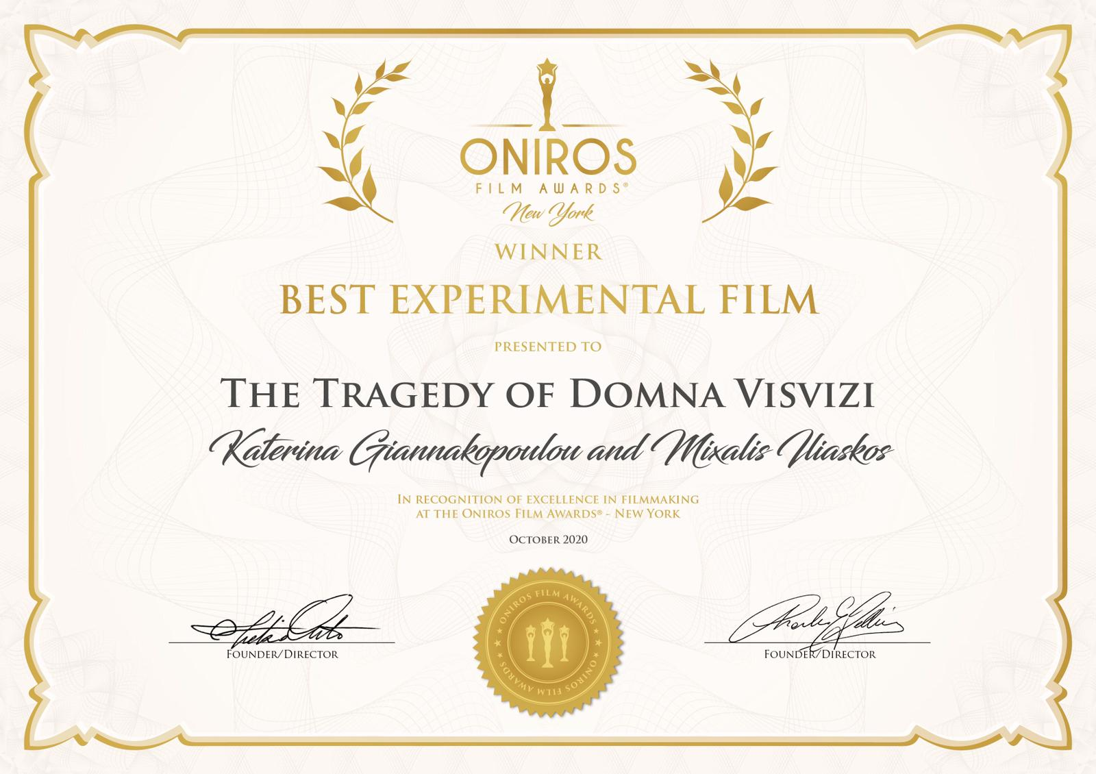 Oniros Film Fest, Winner, The Tragedy of Domna Visvizi