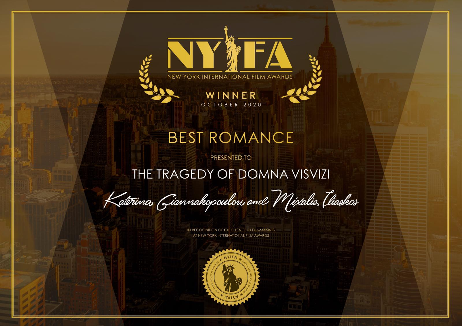 Winner, Filmcompetition, Romancefilm, best film, newyorkinternationalfilmfestival